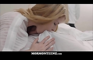 Hot Mormon Sister Sucks And Copulates Tied Up Church Brother While President Watches