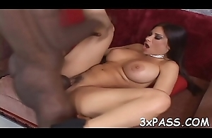 Ebony fella licks pussy be fitting of sickly wholesale before hard banging