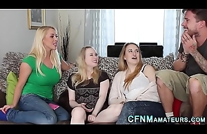 Cfnm group blondes gobble cock