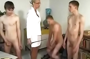 Young boys gets spanked increased by orgy by teacher