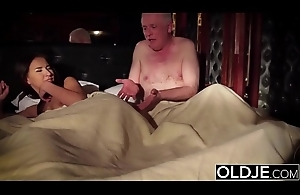 Grandpa fucks his young wife licks her pussy and cums in her pretty frowardness