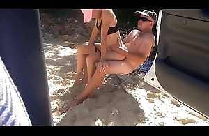 Beach babe sucks with an increment of fucks strangers firm cock on the lido #4