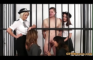 CFNM police babes be in charge uncovered prisoner