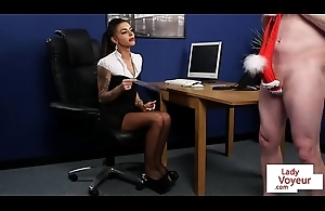 Office sub spanked by femdom to the fore JOI