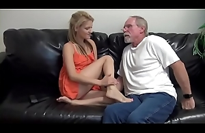 Shrunken blonde fucks and give footjob