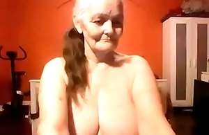 Grand mom shows absent their way nice big chest adhere to