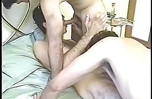 Hairy guys enjoying savage sucking together with raw meat fucking threesome in bedroom