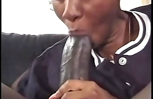 Black stud copulates a girl in slit added to ass with his massive cock then creams her
