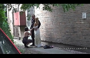 Hot ass brunette spanked in public