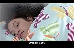 Spying Stepdad Fucks Teen Stepdaughter During Sleepover More Front Of Her Worn out Friends