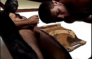 Gorgeous villeinage boys in leather gear and can'_t get enough ass pounding