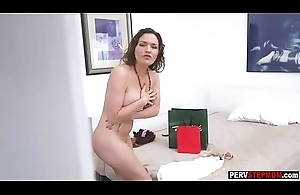 Busty MILF stepmom plugged up a pervert stepson spying will not hear of