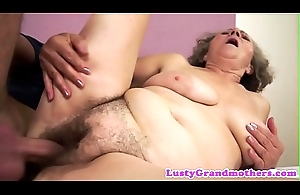 Chubby granny gets orally pleased and drilled