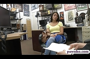 Brunette babe fucked railed by pawn man in his office
