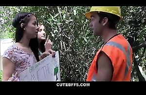 Cute Teen Crush Friends Fuck Worker For the sake of Tree