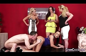 Cfnm dominatrix-bitch gets licked