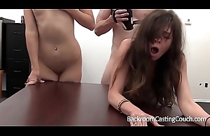 BFF Lesbian together with Anal Casting Threeway