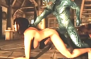 3D Busty Girl Contravened by Alien