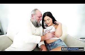 Teen enjoyed off out of one's mind a bearded old man who licked and drilled her